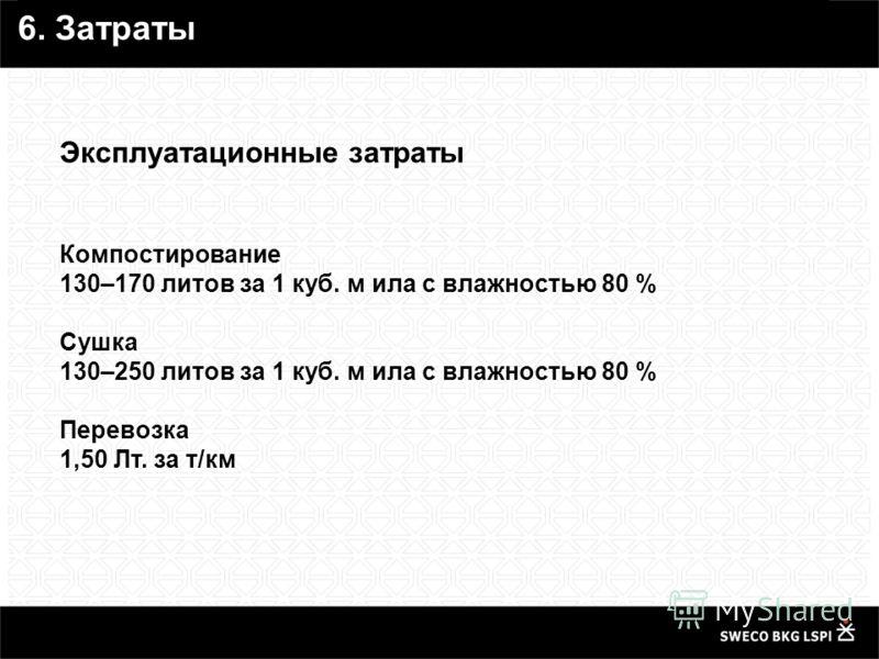 Эксплуатационные затраты Компостирование 130–170 литов за 1 куб. м ила с влажностью 80 % Сушка 130–250 литов за 1 куб. м ила с влажностью 80 % Перевозка 1,50 Лт. за т/км 6. Затраты