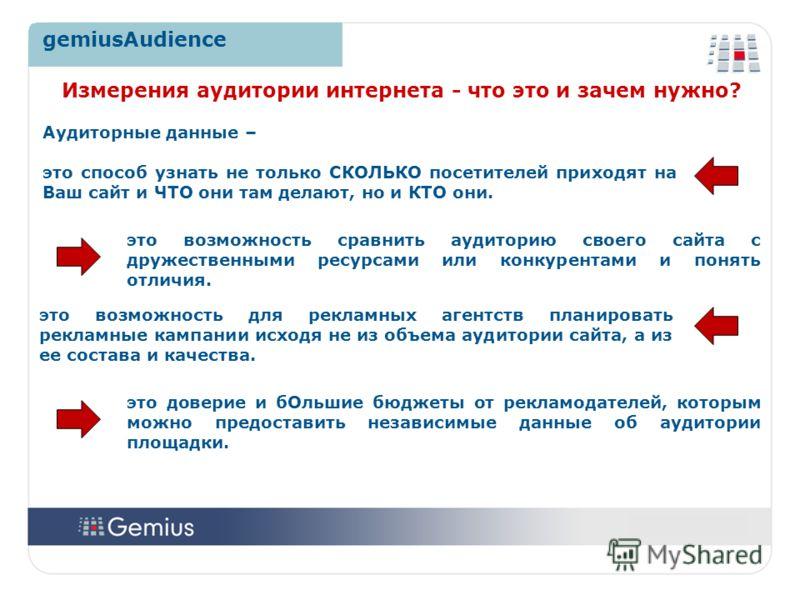 44 gemiusAudience Аудиторные данные – это способ узнать не только СКОЛЬКО посетителей приходят на Ваш сайт и ЧТО они там делают, но и КТО они. Измерения аудитории интернета - что это и зачем нужно? это возможность для рекламных агентств планировать р
