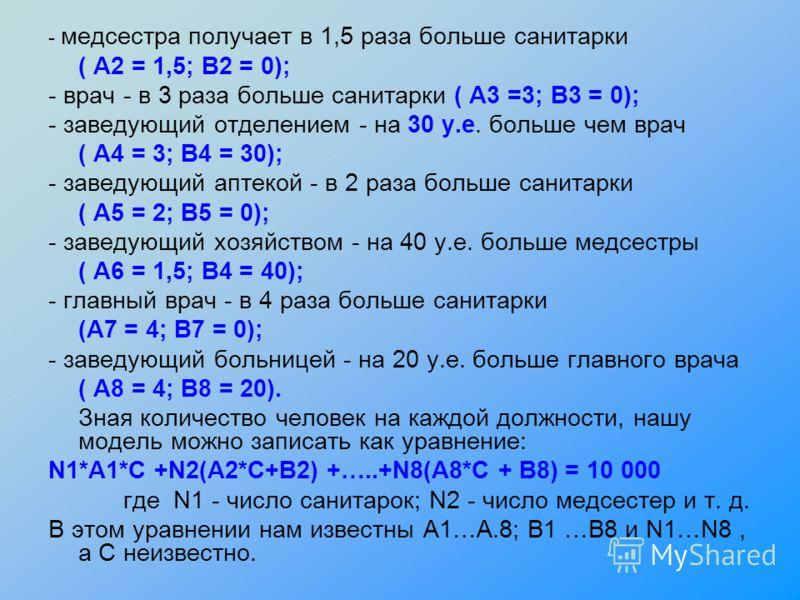 - медсестра получает в 1,5 раза больше санитарки ( А2 = 1,5; В2 = 0); - врач - в 3 раза больше санитарки ( А3 =3; В3 = 0); - заведующий отделением - на 30 у.е. больше чем врач ( А4 = 3; В4 = 30); - заведующий аптекой - в 2 раза больше санитарки ( А5