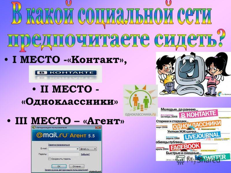 I МЕСТО -«Контакт», II МЕСТО - «Одноклассники» III МЕСТО – «Агент»