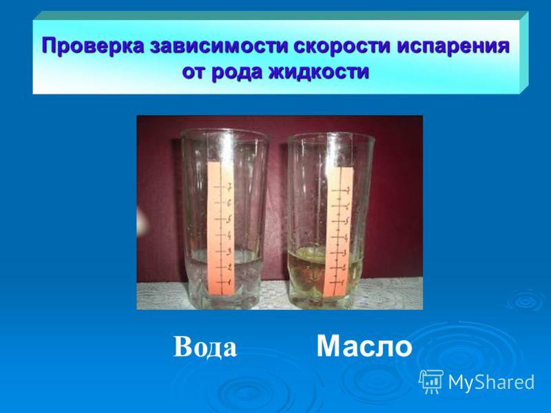 Масло Вода Проверка зависимости скорости испарения от рода жидкости