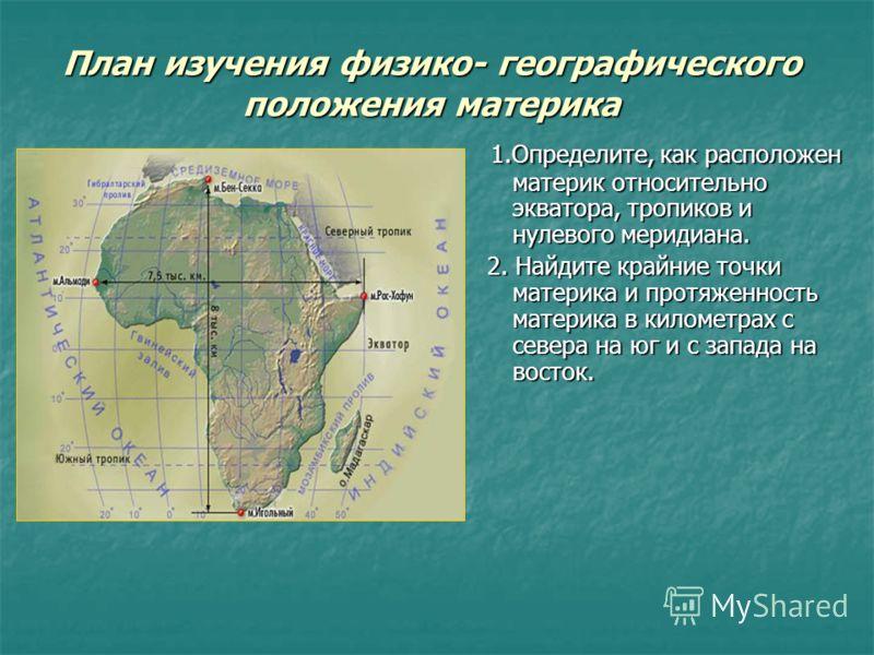 План изучения физико- географического положения материка 1.Определите, как расположен материк относительно экватора, тропиков и нулевого меридиана. 1.Определите, как расположен материк относительно экватора, тропиков и нулевого меридиана. 2. Найдите