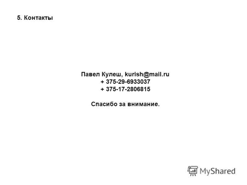 5. Контакты Павел Кулеш, kurish@mail.ru + 375-29-6933037 + 375-17-2806815 Спасибо за внимание.