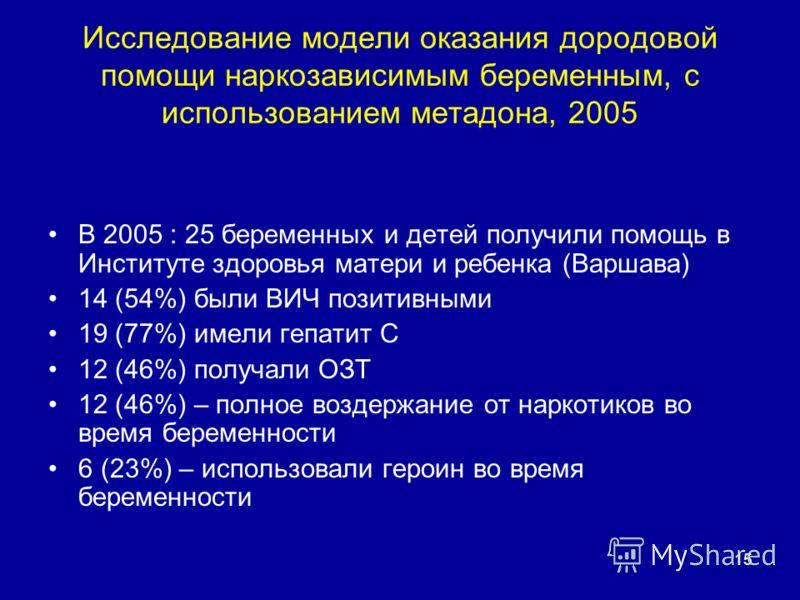 15 В 2005 : 25 беременных и детей получили помощь в Институте здоровья матери и ребенка (Варшава) 14 (54%) были ВИЧ позитивными 19 (77%) имели гепатит С 12 (46%) получали ОЗТ 12 (46%) – полное воздержание от наркотиков во время беременности 6 (23%) –