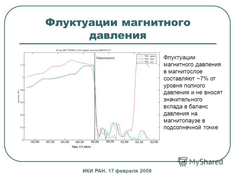 Флуктуации магнитного давления Флуктуации магнитного давления в магнитослое составляют ~7% от уровня полного давления и не вносят значительного вклада в баланс давления на магнитопаузе в подсолнечной точке ИКИ РАН, 17 февраля 2009
