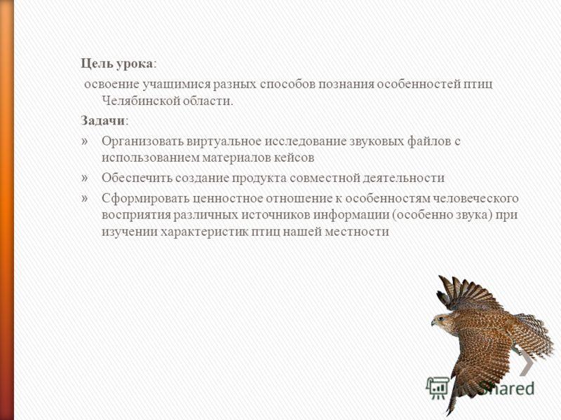 Цель урока: освоение учащимися разных способов познания особенностей птиц Челябинской области. Задачи: » Организовать виртуальное исследование звуковых файлов с использованием материалов кейсов » Обеспечить создание продукта совместной деятельности »