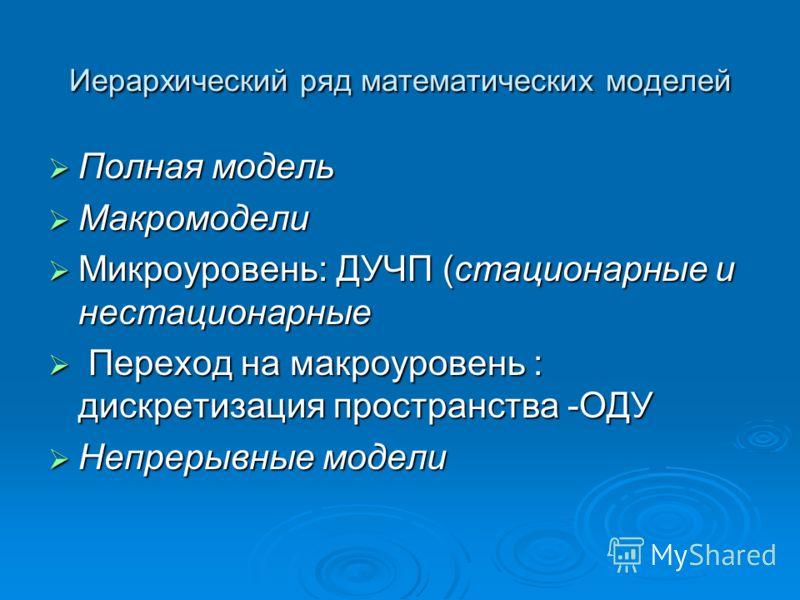 Иерархический ряд математических моделей Полная модель Полная модель Макромодели Макромодели Микроуровень: ДУЧП (стационарные и нестационарные Микроуровень: ДУЧП (стационарные и нестационарные Переход на макроуровень : дискретизация пространства -ОДУ