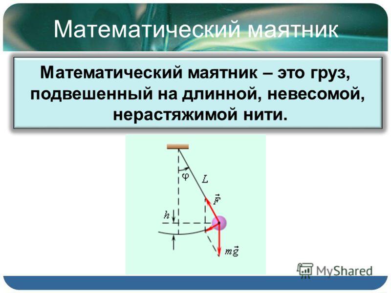 Математический маятник Математический маятник – это груз, подвешенный на длинной, невесомой, нерастяжимой нити.