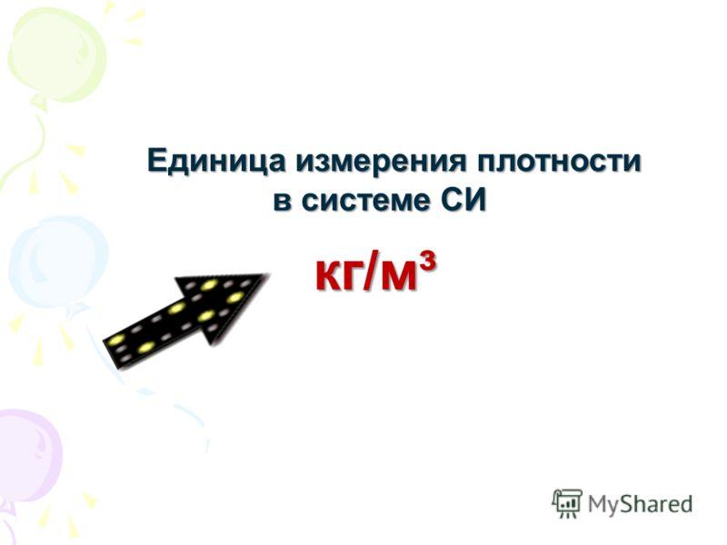 Единица измерения плотности Единица измерения плотности в системе СИ в системе СИ кг/м³