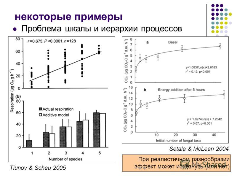 некоторые примеры Проблема шкалы и иерархии процессов Setala & McLean 2004 Tiunov & Scheu 2005 При реалистичном разнообразии эффект может исчезнуть (или нет)