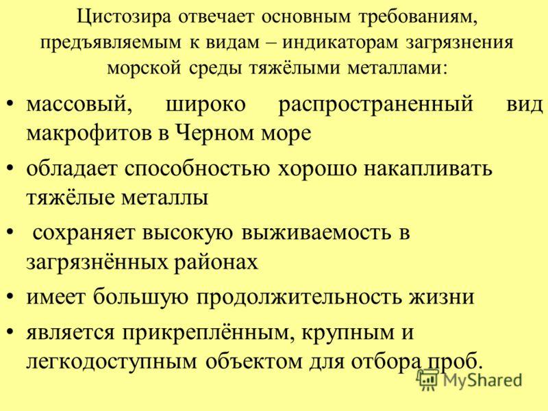 Цистозира отвечает основным требованиям, предъявляемым к видам – индикаторам загрязнения морской среды тяжёлыми металлами: массовый, широко распространенный вид макрофитов в Черном море обладает способностью хорошо накапливать тяжёлые металлы сохраня