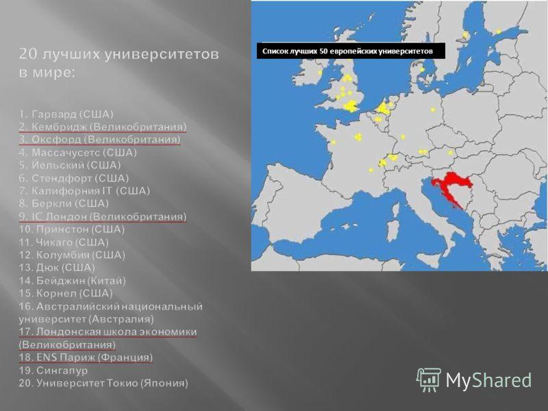 Список лучших 50 европейских университетов