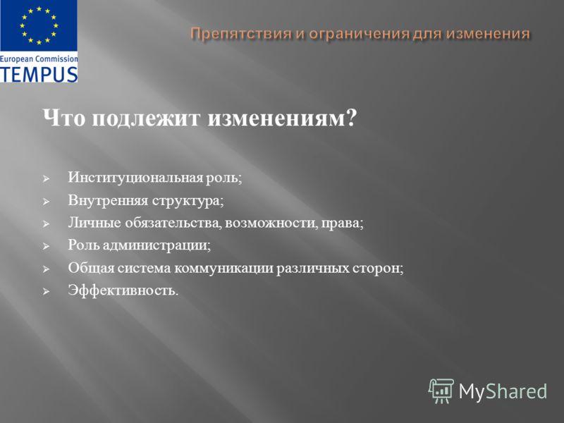 Что подлежит изменениям ? Институциональная роль ; Внутренняя структура ; Личные обязательства, возможности, права ; Роль администрации ; Общая система коммуникации различных сторон ; Эффективность.