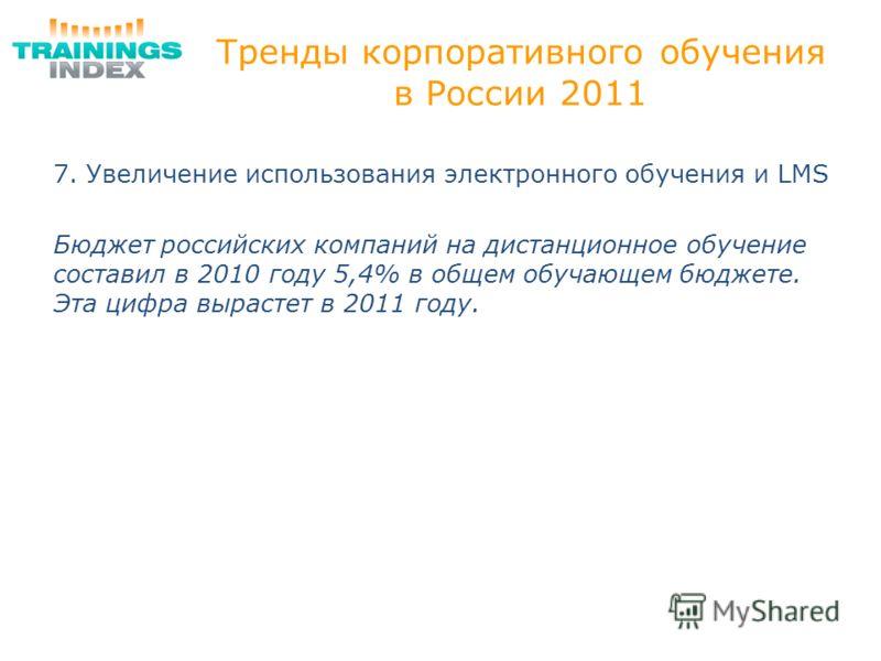 Тренды корпоративного обучения в России 2011 7. Увеличение использования электронного обучения и LMS Бюджет российских компаний на дистанционное обучение составил в 2010 году 5,4% в общем обучающем бюджете. Эта цифра вырастет в 2011 году.
