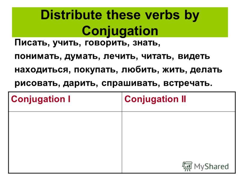 Distribute these verbs by Conjugation Писать, учить, говорить, знать, понимать, думать, лечить, читать, видеть находиться, покупать, любить, жить, делать рисовать, дарить, спрашивать, встречать. Conjugation IConjugation II
