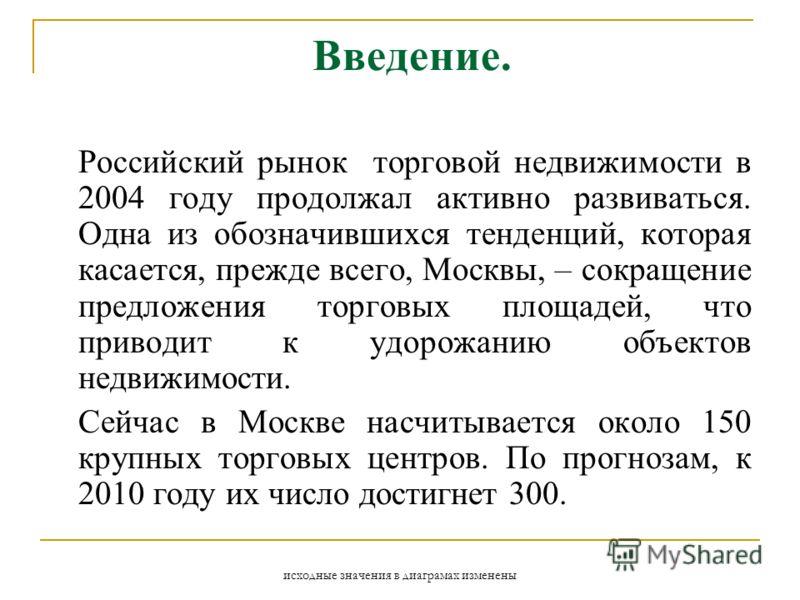 исходные значения в диаграмах изменены Введение. Российский рынок торговой недвижимости в 2004 году продолжал активно развиваться. Одна из обозначившихся тенденций, которая касается, прежде всего, Москвы, – сокращение предложения торговых площадей, ч