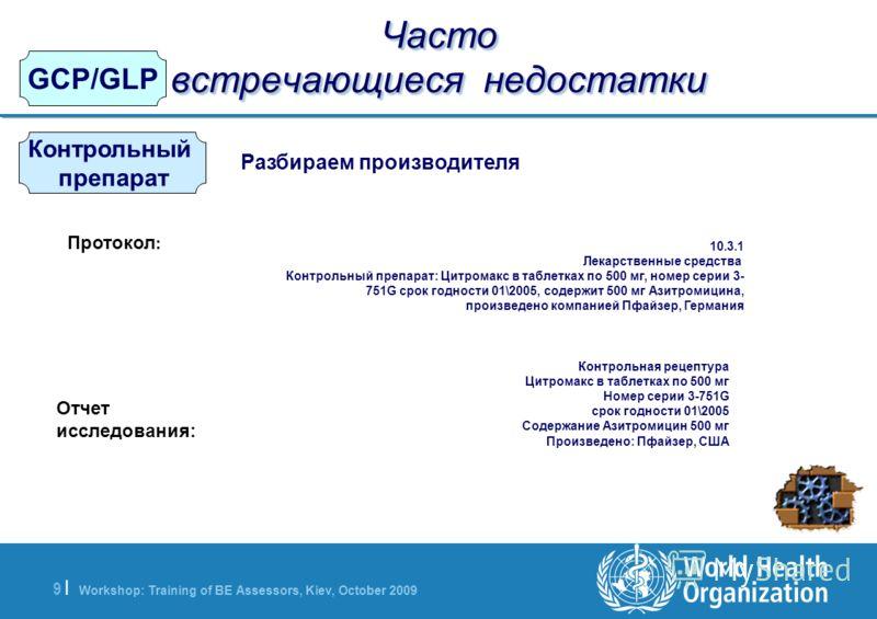 Workshop: Training of BE Assessors, Kiev, October 2009 9  9   GCP/GLP Часто встречающиеся недостатки Контрольный препарат Разбираем производителя Протокол : Отчет исследования: 10.3.1 Лекарственные средства Контрольный препарат: Цитромакс в таблетках