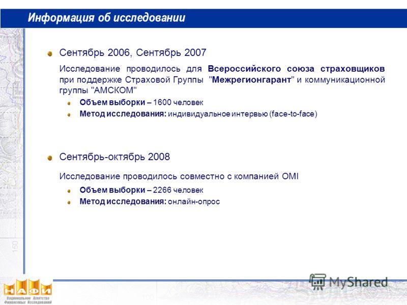 Информация об исследовании Сентябрь 2006, Сентябрь 2007 Исследование проводилось для Всероссийского союза страховщиков при поддержке Страховой Группы