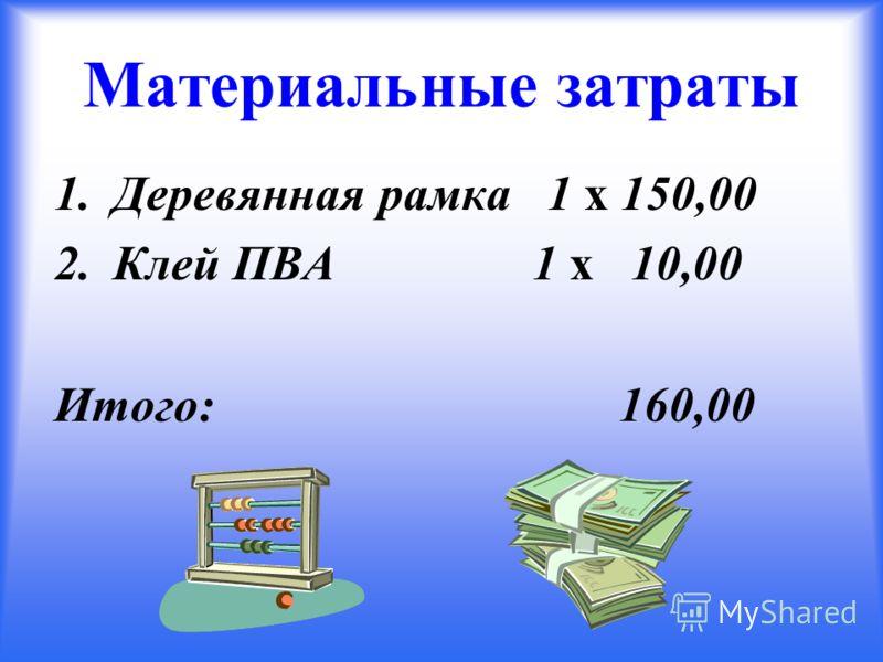 Материальные затраты 1.Деревянная рамка 1 х 150,00 2.Клей ПВА 1 х 10,00 Итого: 160,00