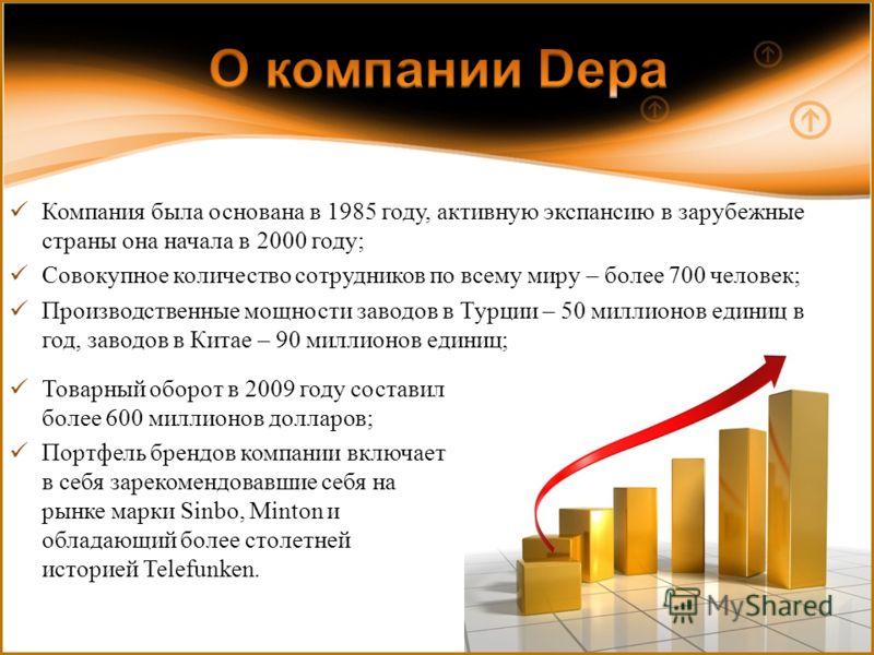 Компания была основана в 1985 году, активную экспансию в зарубежные страны она начала в 2000 году; Совокупное количество сотрудников по всему миру – более 700 человек; Производственные мощности заводов в Турции – 50 миллионов единиц в год, заводов в