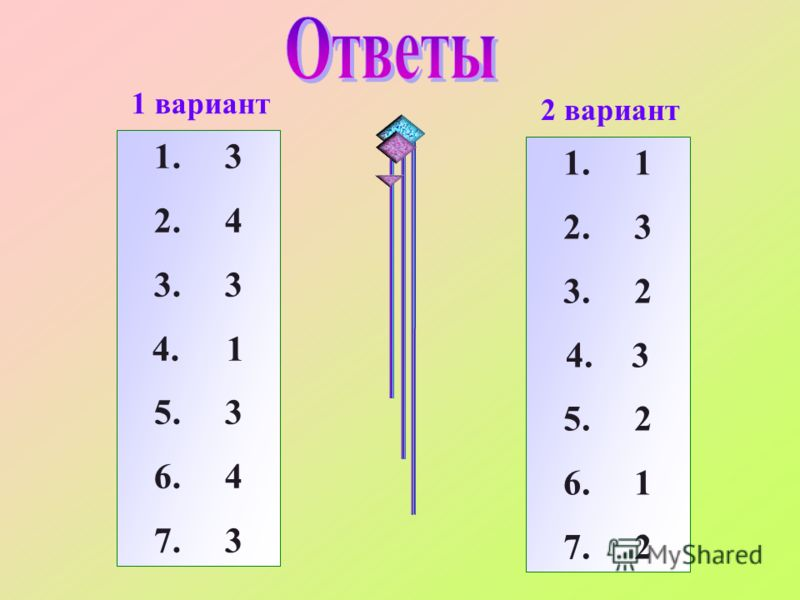 1 вариант 2 вариант 1. 3 2. 4 3. 3 4. 1 5. 3 6. 4 7. 3 1. 1 2. 3 3. 2 4. 3 5. 2 6. 1 7. 2