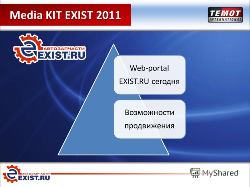 Media Kit EXIST 2011 Media KIT EXIST 2011 Web-portal EXIST.RU сегодня Возможности продвижения