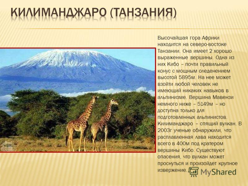 Высочайшая гора Африки находится на северо-востоке Танзании. Она имеет 2 хорошо выраженные вершины. Одна из них Кибо – почти правильный конус с мощным оледенением высотой 5895м. На нее может взойти любой человек не имеющий никаких навыков в альпинизм