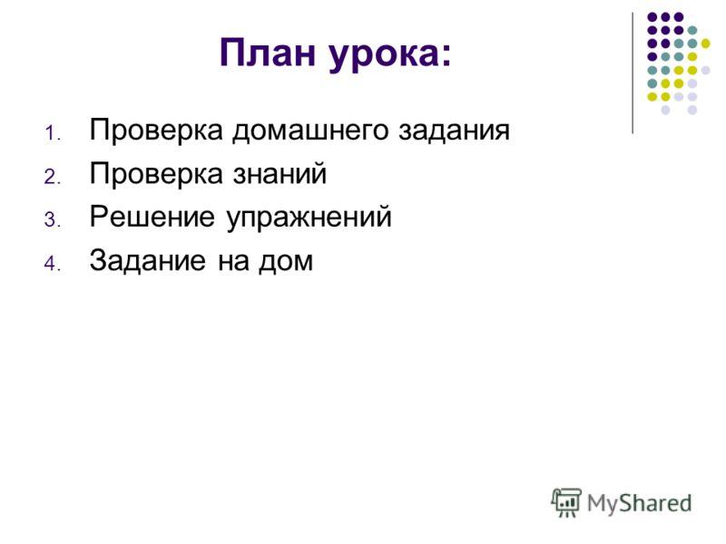 План урока: 1. Проверка домашнего задания 2. Проверка знаний 3. Решение упражнений 4. Задание на дом