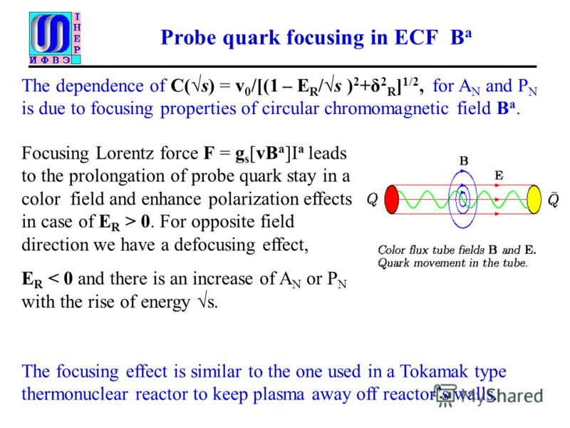 Probe quark focusing in ECF B a The dependence of C(s) = v 0 /[(1 – E R /s ) 2 +δ 2 R ] 1/2, for A N and P N is due to focusing properties of circular chromomagnetic field B a. The focusing effect is similar to the one used in a Tokamak type thermonu