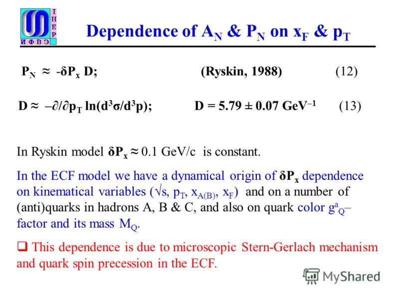 Dependence of A N & P N on x F & p T P N -δP x D; (Ryskin, 1988) (12) In Ryskin model δP x 0.1 GeV/с is constant. In the ECF model we have a dynamical origin of δP x dependence on kinematical variables (s, p T, x A(B), x F ) and on a number of (anti)