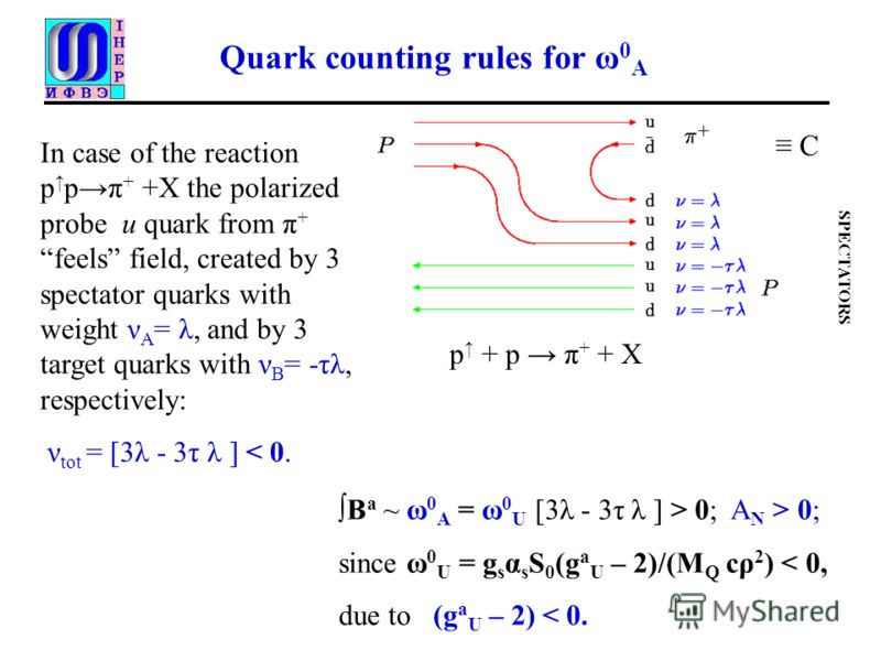 Quark counting rules for ω 0 A SPECTATORS In case of the reaction p pπ + +X the polarized probe u quark from π + feels field, created by 3 spectator quarks with weight ν A = λ, and by 3 target quarks with ν B = -τλ, respectively: ν tot = [3λ - 3τ λ ]