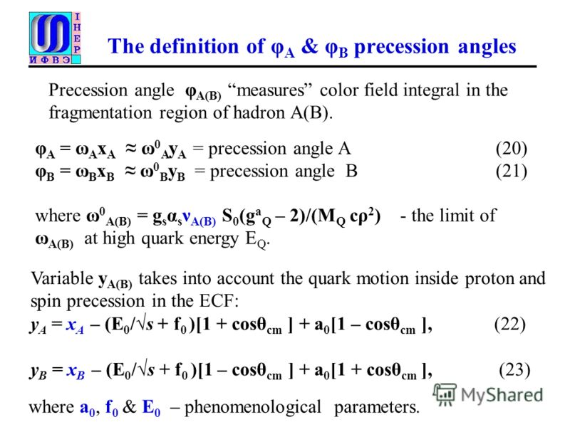 The definition of φ A & φ B precession angles Variable y A(B) takes into account the quark motion inside proton and spin precession in the ECF: y A = x A – (E 0 /s + f 0 )[1 + cosθ cm ] + a 0 [1 – cosθ cm ], (22) y B = x B – (E 0 /s + f 0 )[1 – cosθ