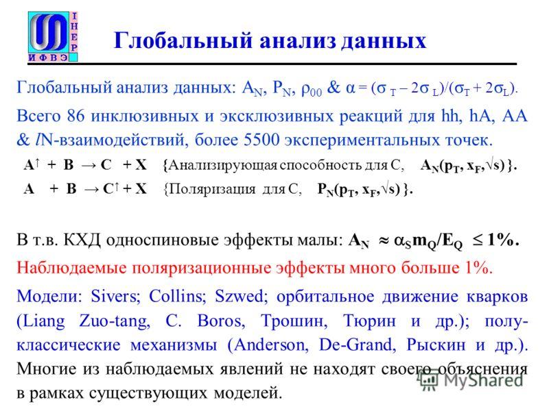 Глобальный анализ данных Глобальный анализ данных: A N, P N, ρ 00 & α = ( σ T – 2 σ L )/( σ T + 2 σ L ). Всего 86 инклюзивных и эксклюзивных реакций для hh, hA, AA & lN-взаимодействий, более 5500 экспериментальных точек. A + B C + X {Анализирующая сп