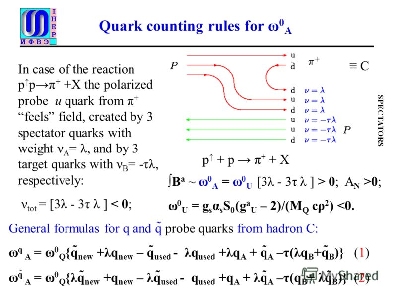 Quark counting rules for ω 0 A General formulas for q and q̃ probe quarks from hadron С: ω q A = ω 0 Q {q̃ new +λq new – q̃ used - λq used +λq A + q̃ A –τ(λq B +q̃ B )} (1) ω q̃ A = ω 0 Q {λq̃ new +q new – λq̃ used - q used +q A + λq̃ A –τ(q B + λq̃