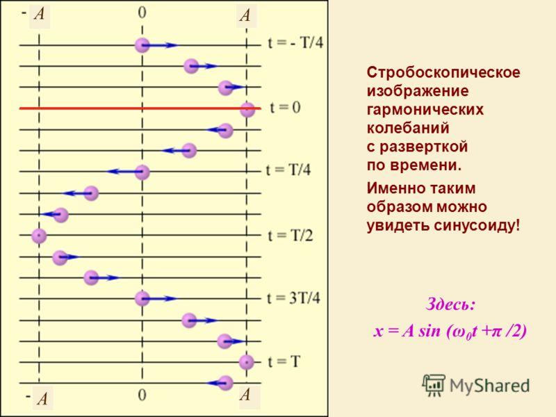 Стробоскопическое изображение гармонических колебаний с разверткой по времени. Именно таким образом можно увидеть синусоиду! Здесь: x = A sin (ω 0 t +π /2) A A A A