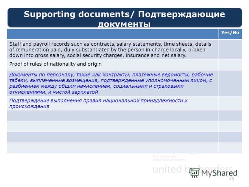 Supporting documents/ Подтверждающие документы 35 Yes/No Staff and payroll records such as contracts, salary statements, time sheets, details of remuneration paid, duly substantiated by the person in charge locally, broken down into gross salary, soc