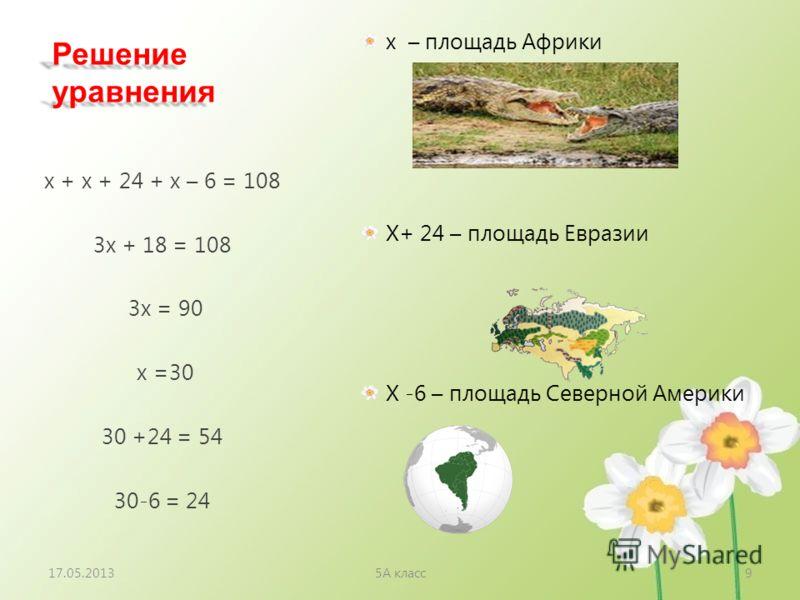 Решение уравнения х – площадь Африки Х+ 24 – площадь Евразии Х -6 – площадь Северной Америки х + х + 24 + х – 6 = 108 3х + 18 = 108 3х = 90 х =30 30 +24 = 54 30-6 = 24 17.05.20135А класс9