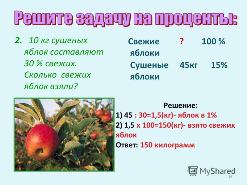 Решение: 1) 45 : 30=1,5(кг)- яблок в 1% 2) 1,5 х 100=150(кг)- взято свежих яблок Ответ: 150 килограмм 16 2. 10 кг сушеных яблок составляют 30 % свежих. Сколько свежих яблок взяли? Сушеные 45кг 15% яблоки Свежие ? 100 % яблоки