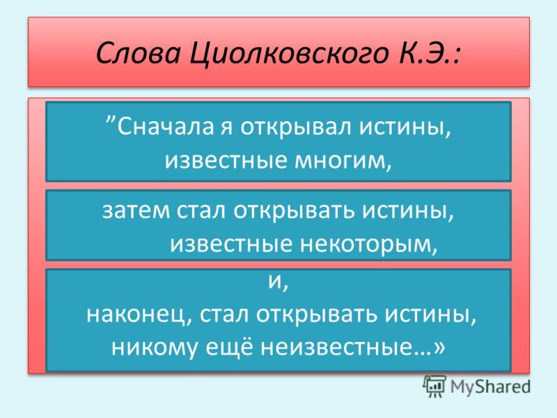 Слова Циолковского К.Э.: и, наконец, стал открывать истины, никому ещё неизвестные…» Сначала я открывал истины, известные многим, затем стал открывать истины, известные некоторым,