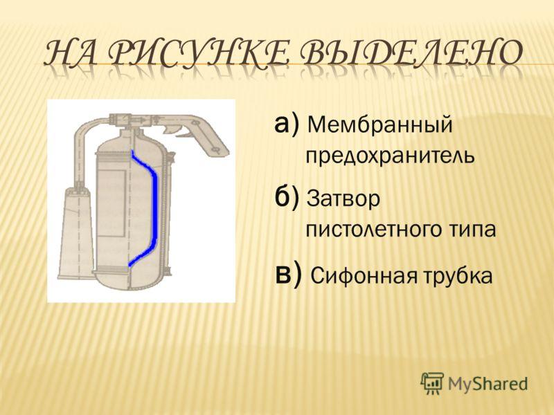 а) Мембранный предохранитель б) Затвор пистолетного типа в) Сифонная трубка