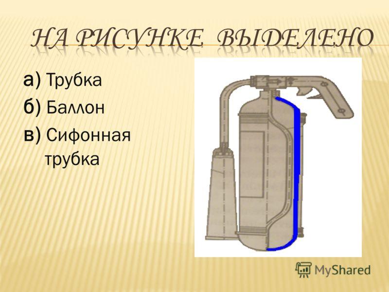 а) Трубка б) Баллон в) Сифонная трубка