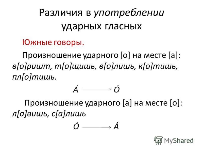 Различия в употреблении ударных гласных Южные говоры. Произношение ударного [о] на месте [а]: в[о]ришm, т[о]щишь, в[о]лишь, к[о]тишь, пл[о]тишь. ÁÓ Произношение ударного [а] на месте [о]: л[а]вишь, с[а]лишь ÓÁ