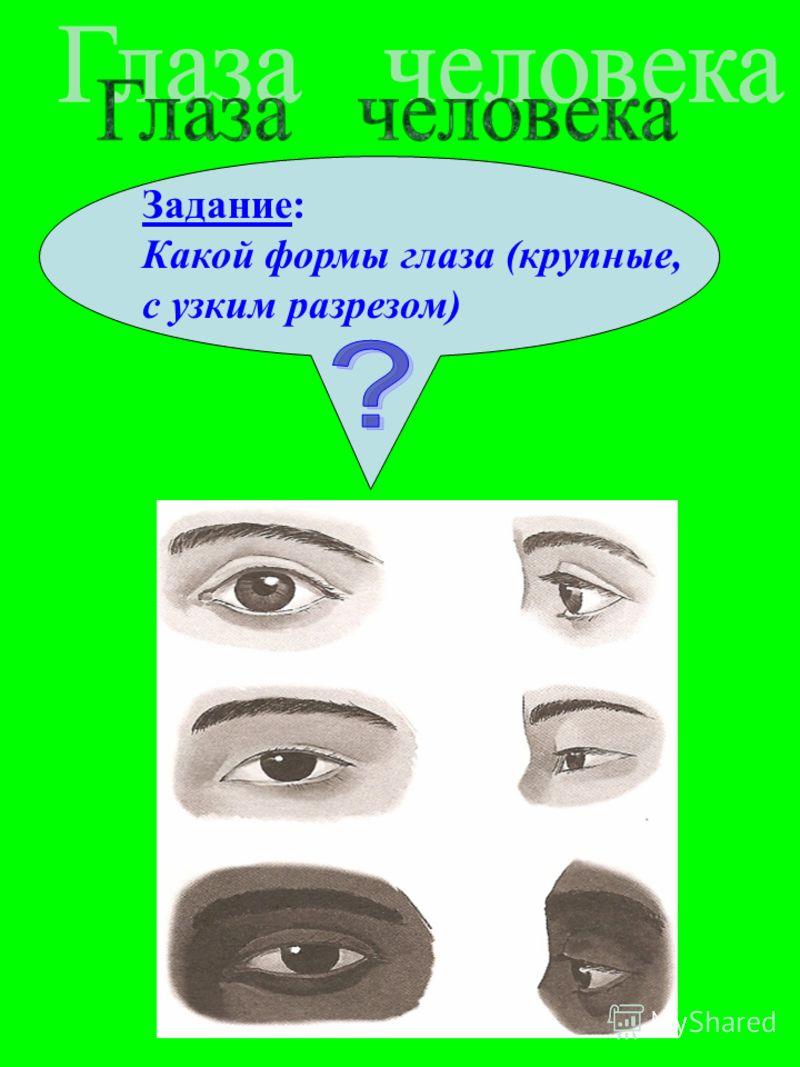 Задание: Какой формы глаза (крупные, с узким разрезом)