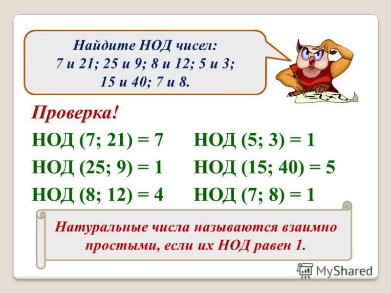 Найдите НОД чисел: 7 и 21; 25 и 9; 8 и 12; 5 и 3; 15 и 40; 7 и 8. Проверка! НОД (7; 21) = 7 НОД (25; 9) = 1 НОД (8; 12) = 4 НОД (5; 3) = 1 НОД (15; 40) = 5 НОД (7; 8) = 1 Натуральные числа называются взаимно простыми, если их НОД равен 1.