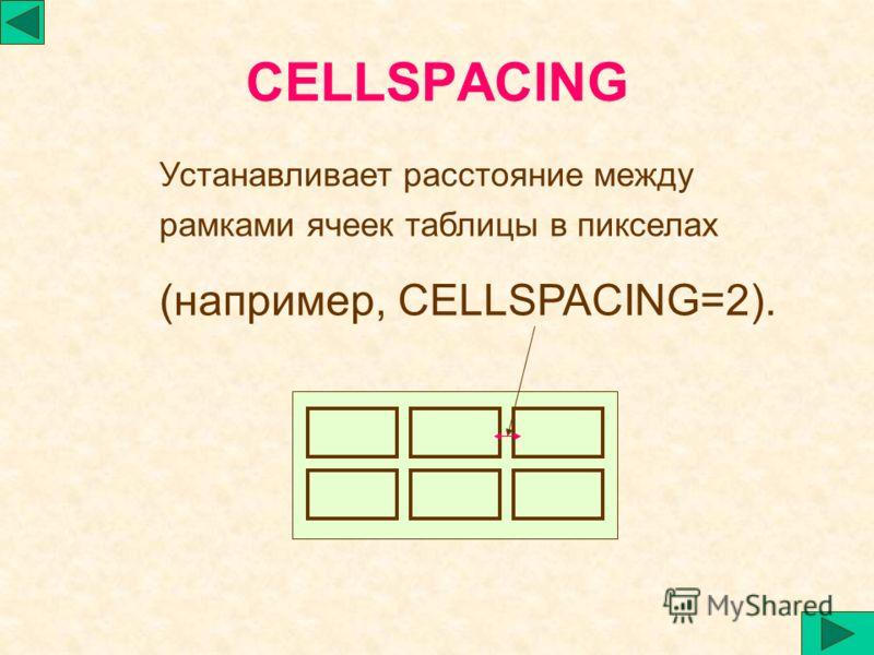 CELLSPACING Устанавливает расстояние между рамками ячеек таблицы в пикселах (например, CELLSPACING=2).