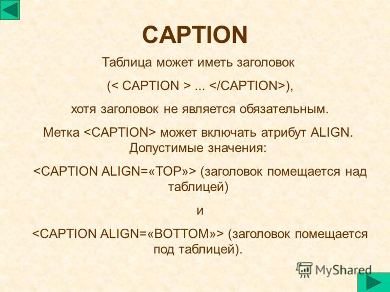CAPTION Таблица может иметь заголовок (... ), хотя заголовок не является обязательным. Метка может включать атрибут ALIGN. Допустимые значения: (заголовок помещается над таблицей) и (заголовок помещается под таблицей).