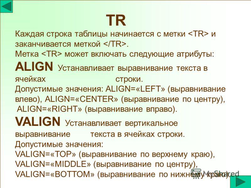TR Каждая строка таблицы начинается с метки и заканчивается меткой. Метка может включать следующие атрибуты: ALIGN Устанавливает выравнивание текста в ячейках строки. Допустимые значения: ALIGN=«LEFT» (выравнивание влево), ALIGN=«CENTER» (выравнивани