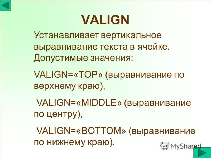 VALIGN Устанавливает вертикальное выравнивание текста в ячейке. Допустимые значения: VALIGN=«TOP» (выравнивание по верхнему краю), VALIGN=«MIDDLE» (выравнивание по центру), VALIGN=«BOTTOM» (выравнивание по нижнему краю).