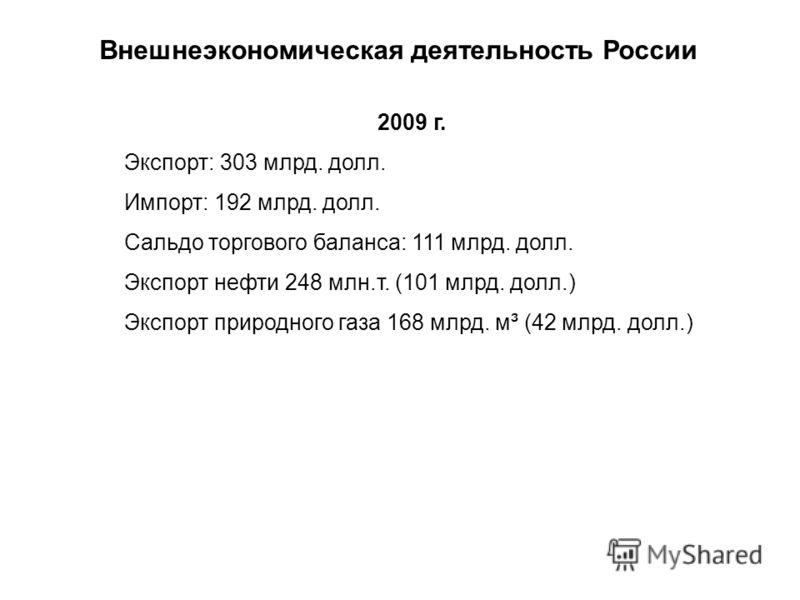 Внешнеэкономическая деятельность России 2009 г. Экспорт: 303 млрд. долл. Импорт: 192 млрд. долл. Сальдо торгового баланса: 111 млрд. долл. Экспорт нефти 248 млн.т. (101 млрд. долл.) Экспорт природного газа 168 млрд. м ³ (42 млрд. долл.)