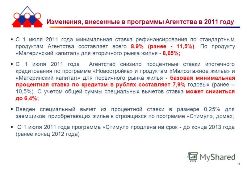 6 Изменения, внесенные в программы Агентства в 2011 году С 1 июля 2011 года минимальная ставка рефинансирования по стандартным продуктам Агентства составляет всего 8,9% (ранее - 11,5%). По продукту «Материнский капитал» для вторичного рынка жилья - 8